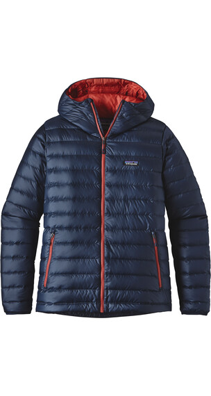 Patagonia M's Down Sweater Hoody Navy Blue w/Ramble Red